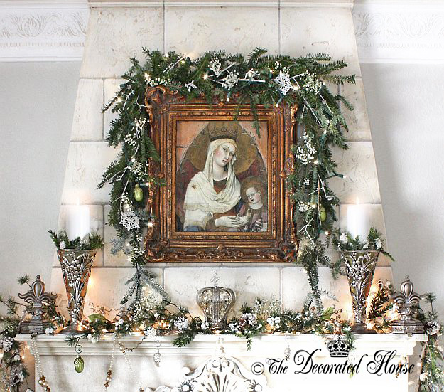 The Decorated House ~ Christmas Mantel 2014 - White and Silver