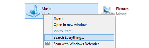 Everything context menu