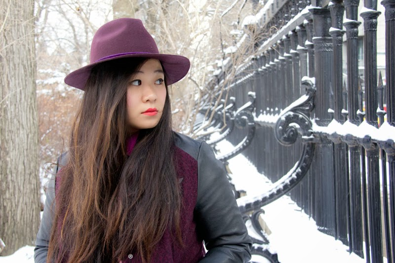 Fedora-Hat, Varsity-Jacket, Fashion-Blogger, Street-Style, Red-Lipstick