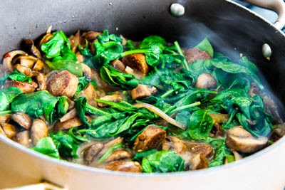 ... for Penne Pasta with Spicy Italian Sausage, Mushrooms, and Spinach