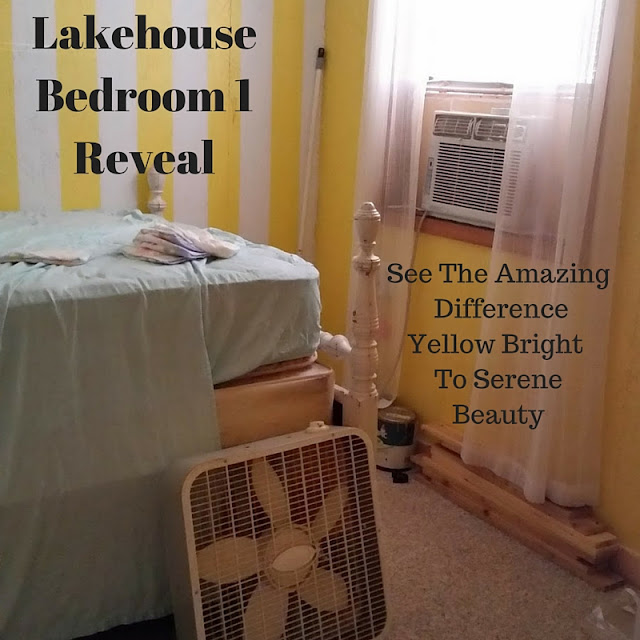 lakehouse bedroom 1 reveal...see the amazing difference from yellow bright to serene