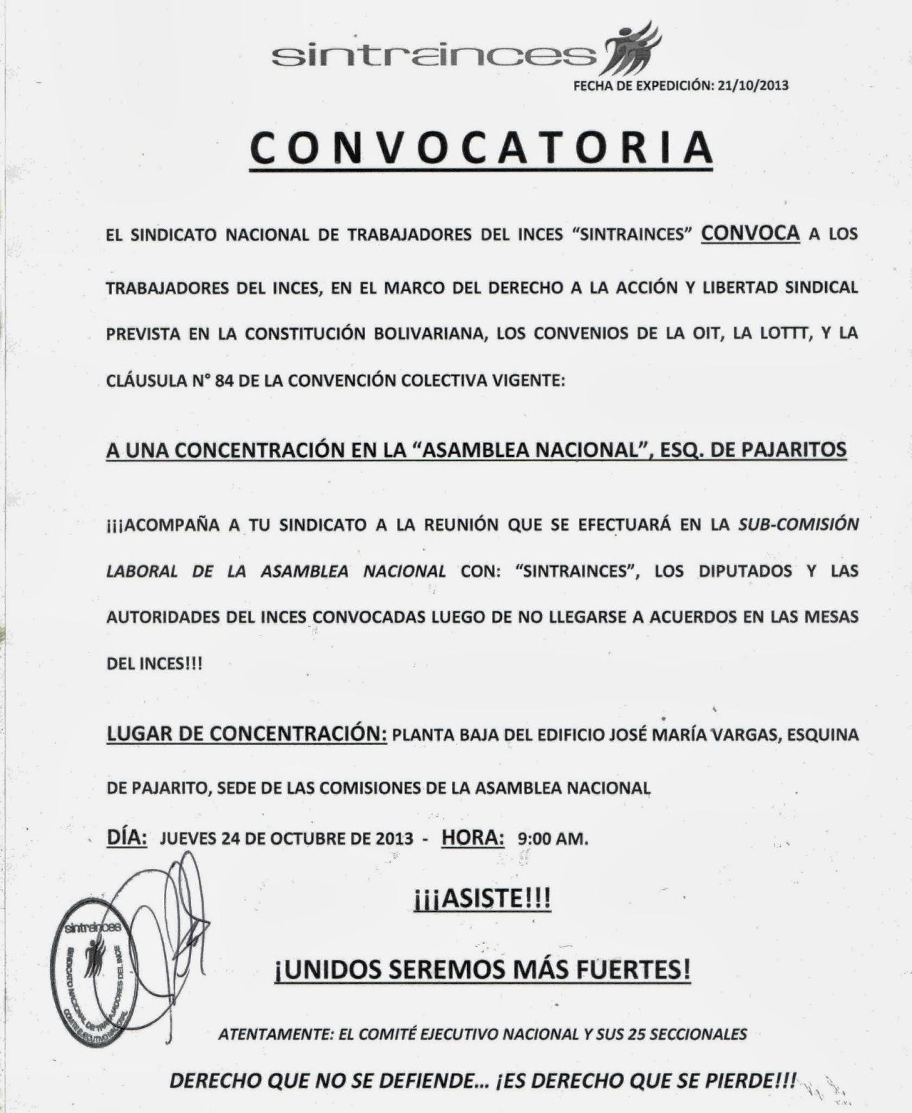 Sintrainces Nacional: CONCLUSIONES MESAS Y CONVOCATORIA A CONCENTRACIÓN