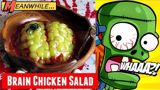 How to make brain chicken salad for halloween treats via geniusknight.blogspot.com holiday knight