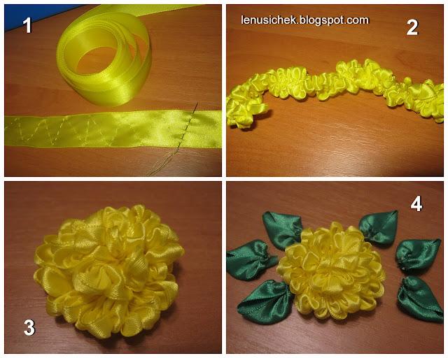 Как сделать цветочек из ленты мастер класс