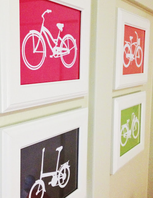 Adorable bike printables. Perfect for any room in the house. 2 dollar IKEA frames and a free printable. entirelyeventful.com #bike #print #kidsroom