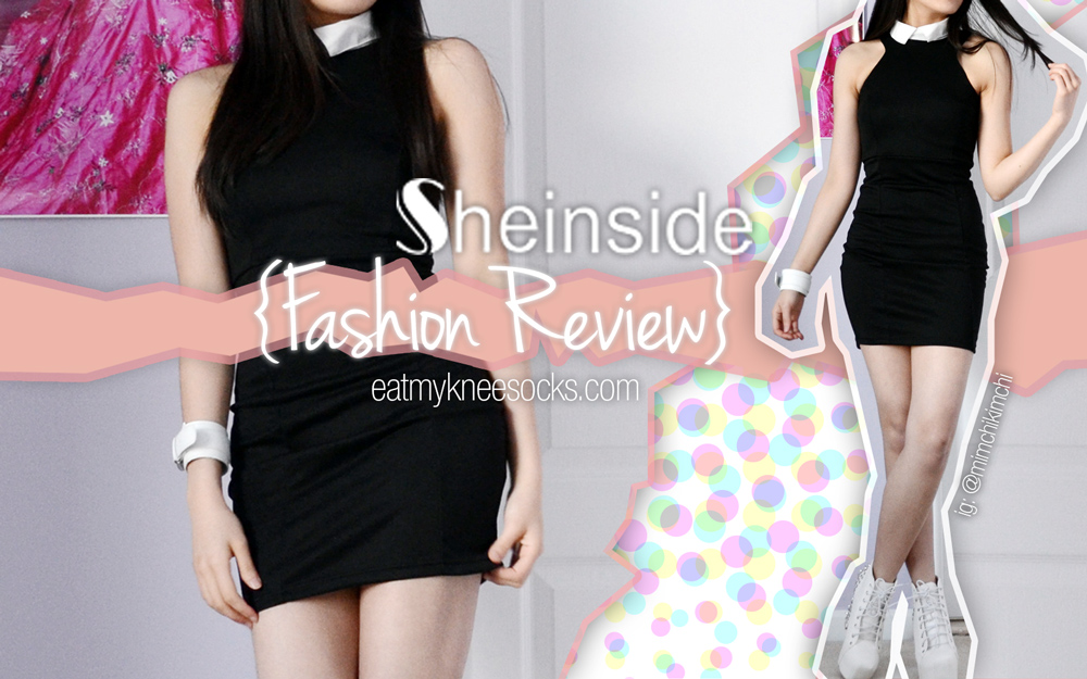 The Eat My Knee Socks intro photo for the SheInside contrast collar bodycon dress fashion review.