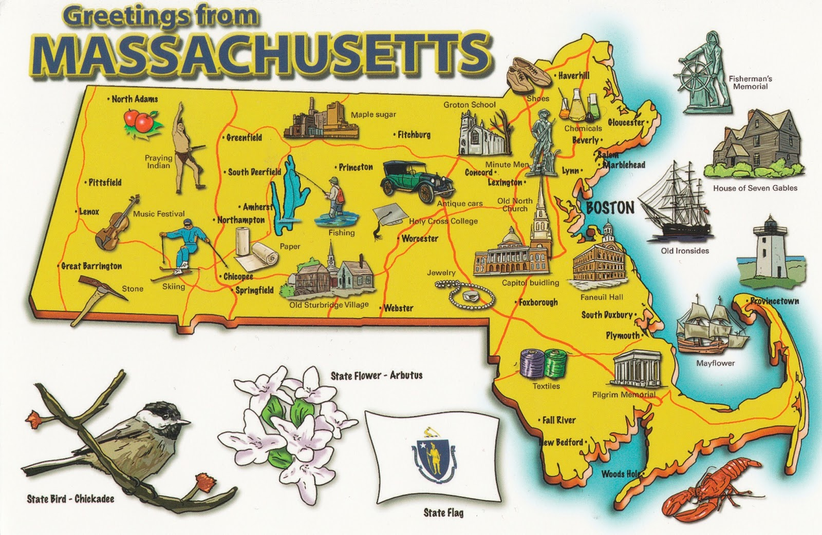 the card shows an illustrated map of massachusetts with state emblems such as the state bird state flower and state flag and various tourist attractions