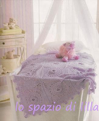 lo spazio di lilla: Copertine per neonato: una lilla all'uncinetto ed