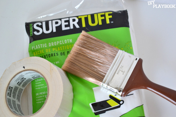 Painting supplies to make our DIY outdoor rug.
