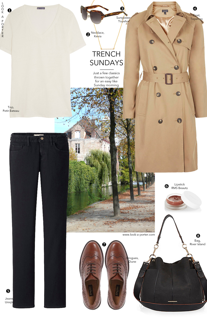 Via look-a-porter.com / style & fashion blog / how to style / outfit inspiration / outfit ideas daily / trench coat, jeans, brogues, t-shirt / Topshop, Petit Bateau, Uniqlo, Dune, River Island, Kevia, Topshop, River Island
