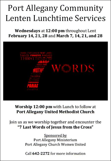 2-28 Port Allegany Lenten Lunch Services