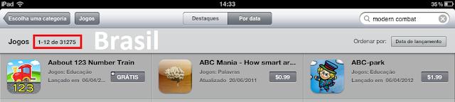 quantidade de jogos - app store brasileira