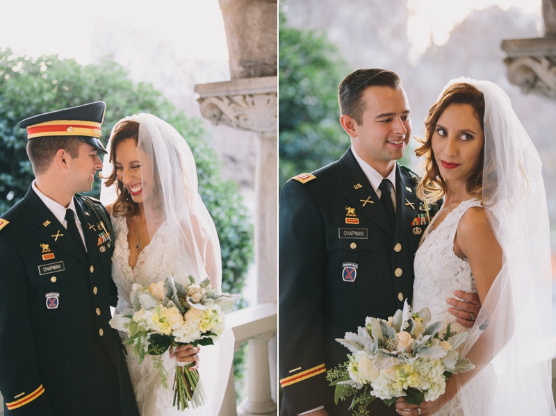 the bride and groom's first look at rhodes hall in atlanta