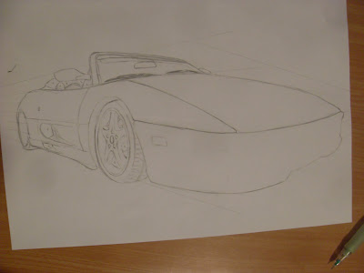 draw ferrari step by step details