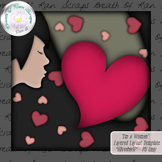 "Free scrapbook template ""I am a woman"" from Breath of Rain Scraps"