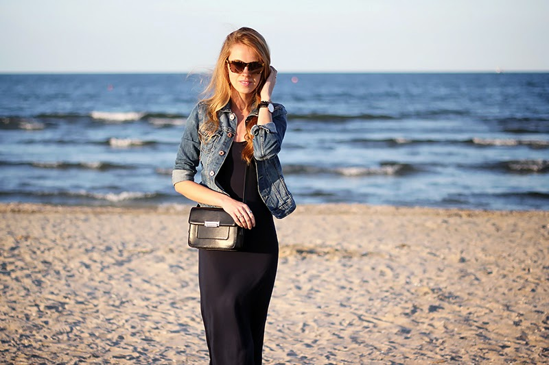 maxi dress, denim jacket, cross-body bag, spring look
