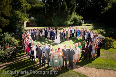 Heart shaped wedding group shot, Steeple Court Manor, Botley, Hampshire