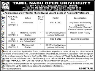 Applications are invited for Direct Recruitment of Assistant Professors for  Humanities, History and Tourism Studies, Special Education and Rehabilitation and Management Studies in Tamil Nadu Open University (TNOU) Chennai