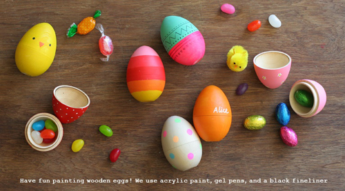 Blankgoods+AU+Easter+Tablescapes+DIY+Craft+Inspiration+painted+wooden+eggs Easter Crafts Inspiration