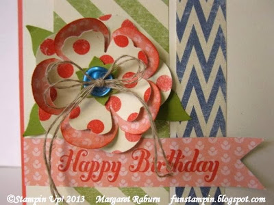 Fun Stampin with Margaret!  CCMC277 Sketch Challenge, Birthday card, Etcetera DSP, Bring on the Cake set, SU.