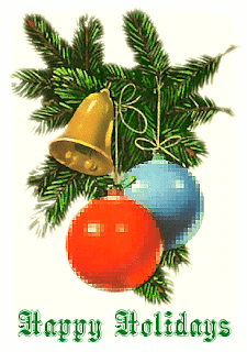 Happy holidays kids Christmas clip art photo decorated with X mas bells,leaves,red and blue baubles