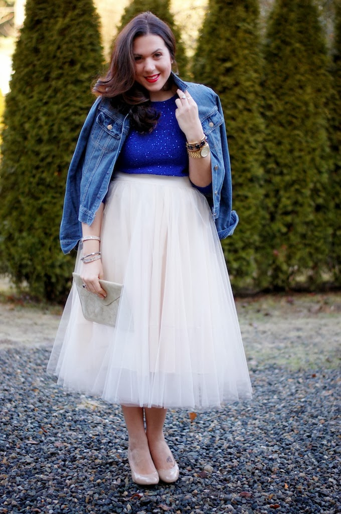Full tulle midi skirt