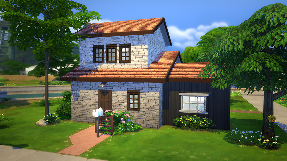 Starter brick home sims 4 houses for Small starter homes