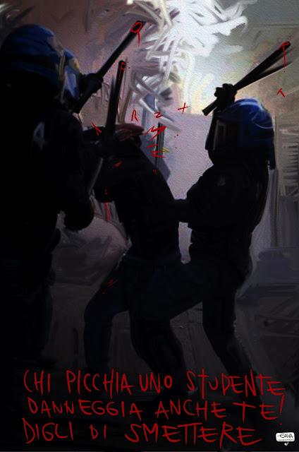 Gava Satira Vignette cariche polizia scontri scuola