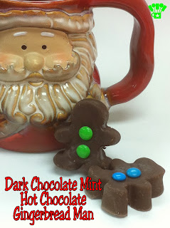 Dark Chocolate Mint Hot Chocolate Gingerbread Man Neighbor Gift.  Uses only 2 ingredients and a free bag topper printable to make an easy and yummy gift.