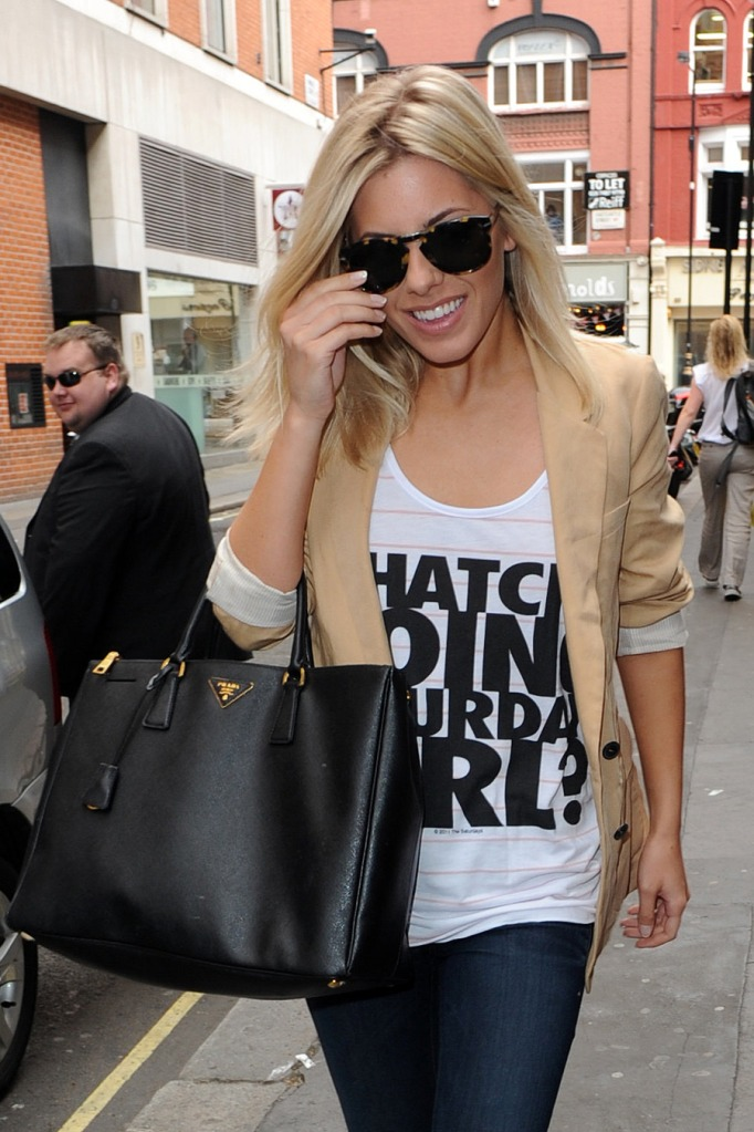 Celebrity Fashion Designer Handbags : Mollie King Fashion Prada ... - prada galleria bag black