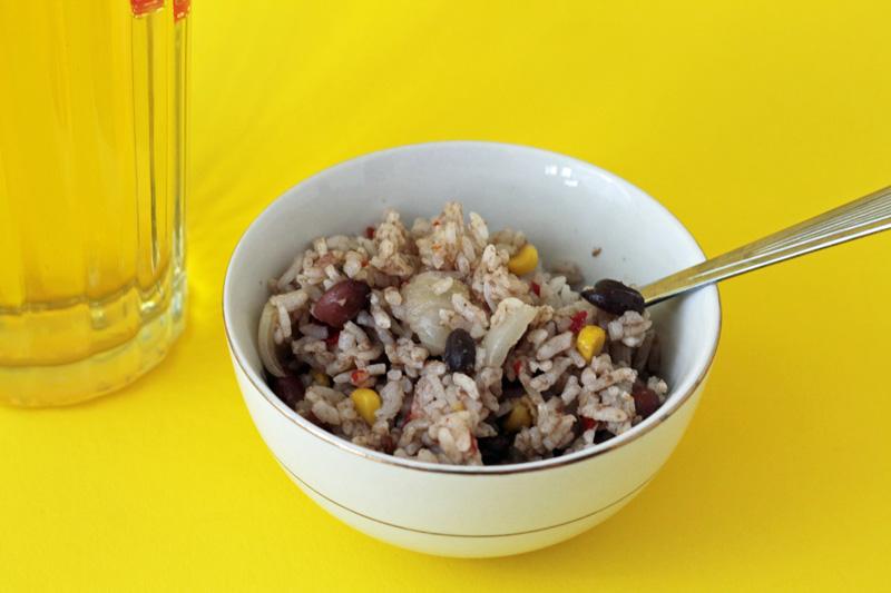 sausage, rice + beans