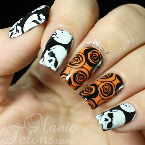 Stamped Skulls and Roses Nail Art with Cici and Sisi over Revel Gel Polish