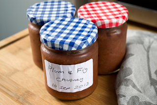 Jar of plum and  fig chutney.
