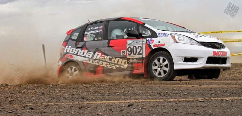 Honda Fit rally car at Oregon Trail Rally 2014