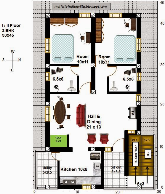 My little indian villa 56 r49 4 houses in 30x45 east 30 by 45 house plans