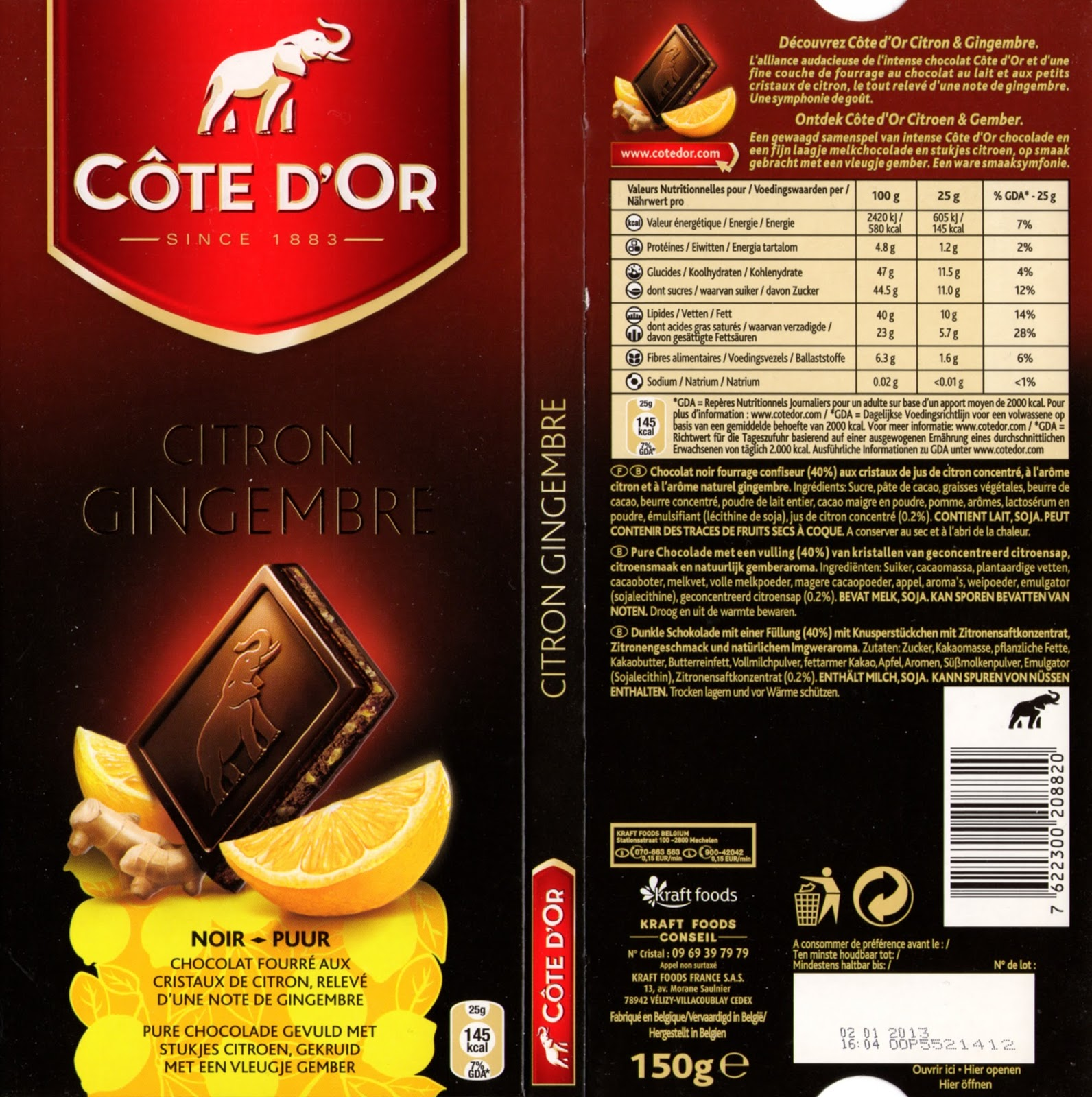tablette de chocolat noir fourré côte d'or citron gingembre