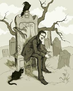 O corvo, o gato preto, cemitério e Poe