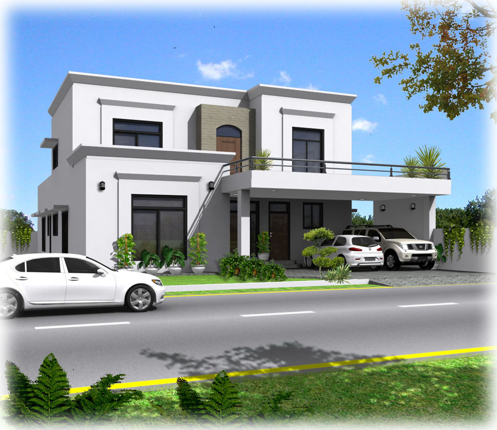 3d front house plans with front porches for Simple house front design