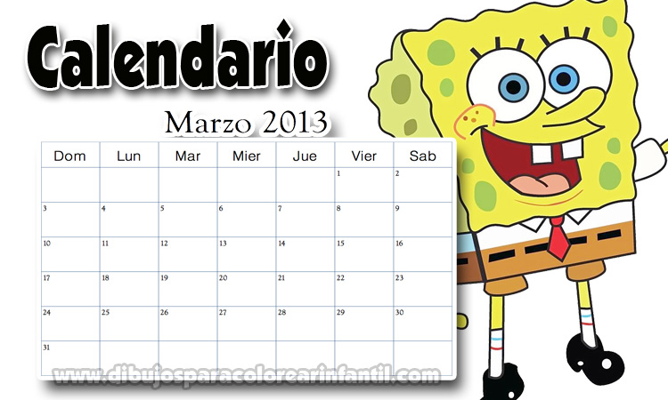 Calendario Escolar Marzo 2013 de Bob Esponja Colorear