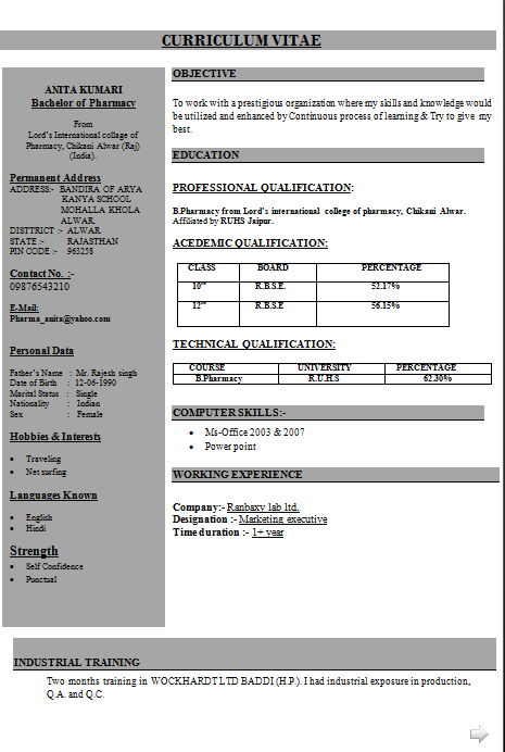 Exceptionnel RESUME FORMAT FOR B PHARMACY