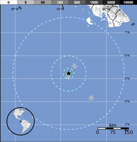 Epicentro sismo Panama, 5 de Febrero 2015