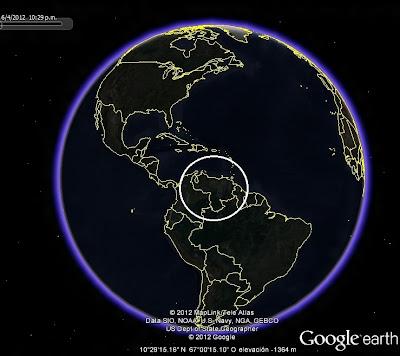 Ubicación de VENEZUELA en El Mundo, Google Earth, vista nocturna