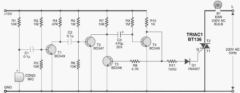 diy sound activated lights circuit diagram