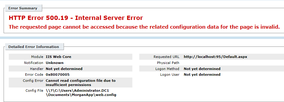 Fix/Solution HTTP Error 500.19 - Internal Server Error - 0x80070005