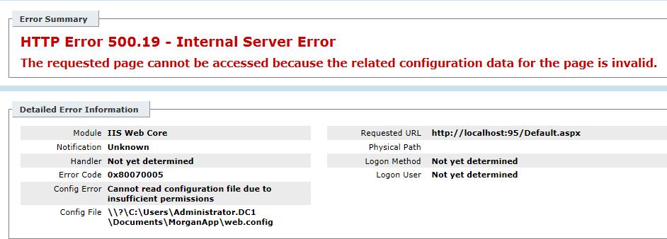 Fix/Solution HTTP Error 500.19 - Internal Server Error - 0x80070005
