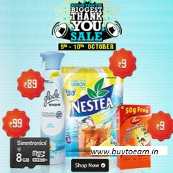 Bigger than the Biggest Thank you Sale on Shopclues Rs. 29 And Rs. 49 Deals : BuyToEarn