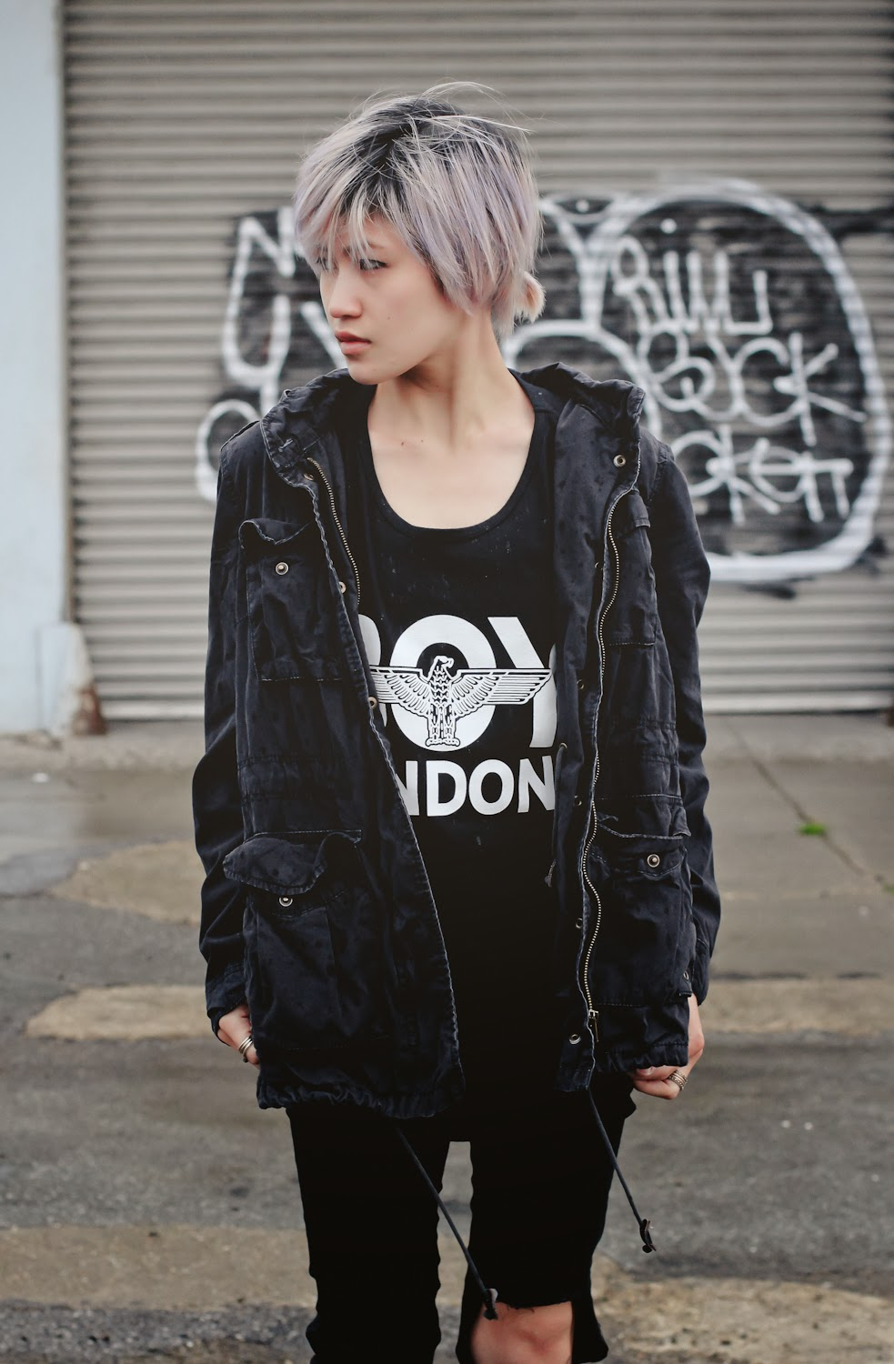Boy London Eagle Tank Top, HM Parka, HM Skinny Pants, Dr Martens 1460 Boots