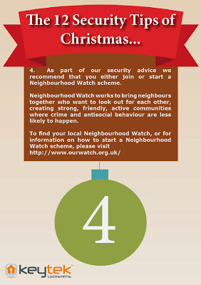 Keytek Locksmiths The 12 Security Tips of Christmas Neighbourhood Watch Security Tip