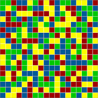 18x18 Grid Rectangle Free Four Coloring