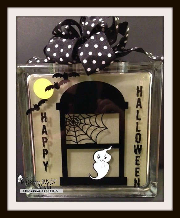 Scrapbook stamp society halloween lighted glass block for Hollow glass blocks for crafts